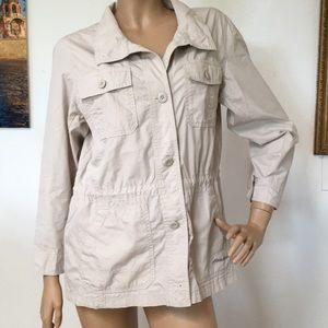 Eddie Bauer Khaki Cotton Travel Safari Jacket L
